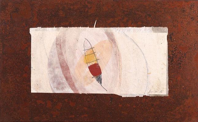 Relikt, Mischtechnk auf Eisenplatte, 30 x 48 cm