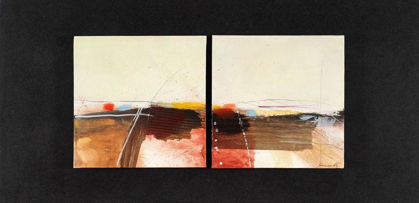 geteilte Landschaft, Öl auf Malplatte, 32 x 65 cm, € 440,-