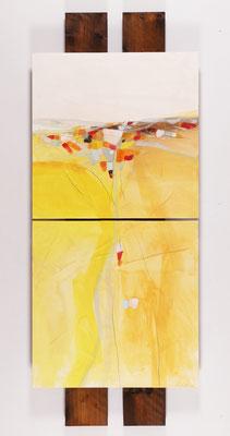 geteilte Landschaft, Öl auf Malplatte, 120 x 60 cm