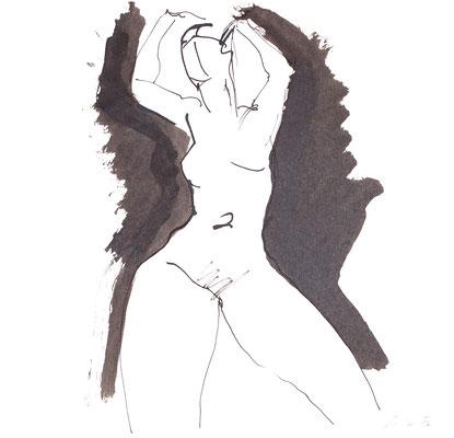 Akt, Tusche auf Papier, 30 x 30 cm