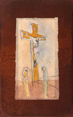 Kreuz, Mischtechnk auf Eisenplatte, 48 x 30 cm