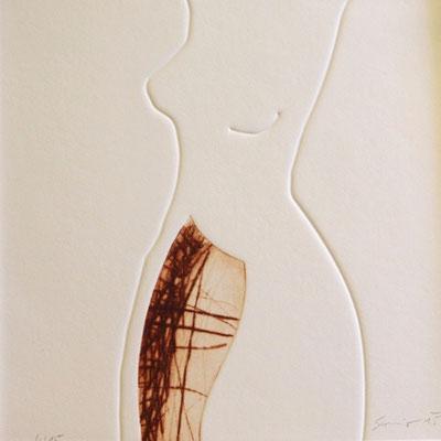 Akt, Radierung mit Reliefdruck, 30 x 30 cm, € 145,-