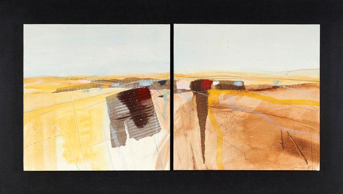 geteilte Landschaft, Öl auf Malplatte, 54 x 95 cm, € 1.200,-