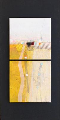 geteilte Landschaft, Öl auf Malplatte, 88 x 44 cm