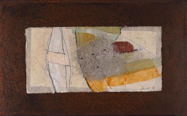 Relikt, 2019, 30 x 48 cm, Asche, Pigmente, Sand auf Papier und Eisen, € 370,-