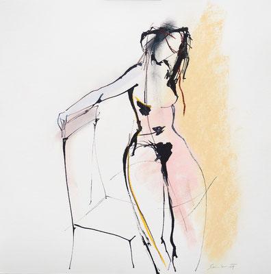 Akt, Tusche, Pastell auf Papier, 30 x 30 cm, € 240,-