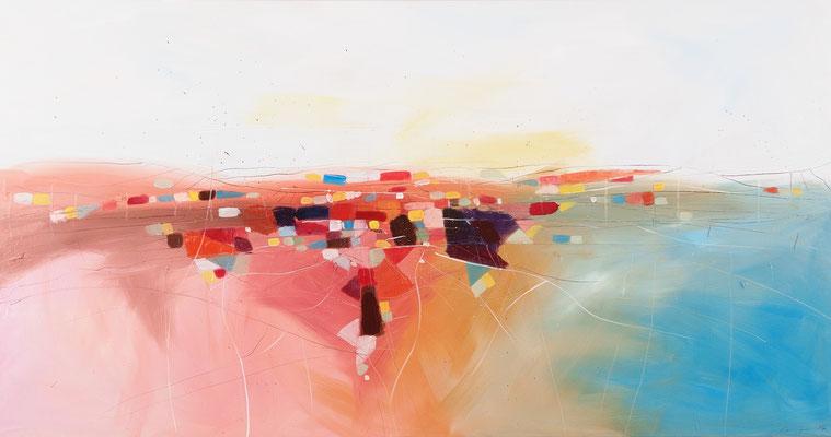 Landschaft, Öl auf Leinwand, 95 x 180 cm
