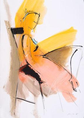 Akt, Öl/Tusche auf Papier, 90 x 70 cm