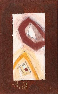 Relikt, Mischtechnk auf Eisenplatte, 48 x 30 cm