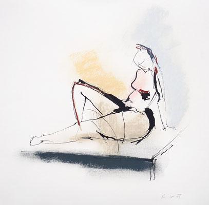 Akt, Tusche, Pastell auf Papier, 30 x 30 cm