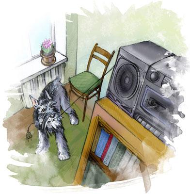 """Иллюстрация для журнала """"Друг"""" №7. К рассказу """"Шнауцерюха""""."""