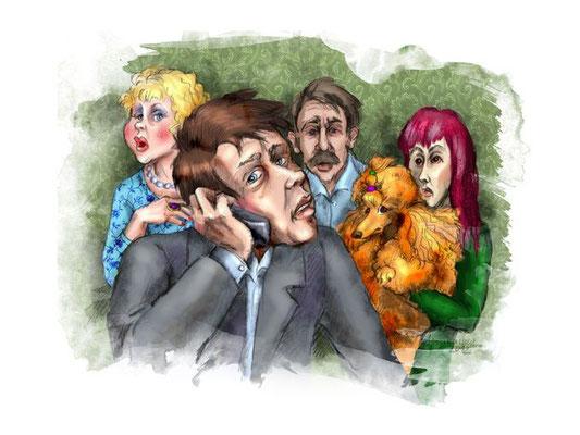 """Иллюстрации к рассказу """"Стихийное разведение"""". Опубликованы в журнале """"Друг для любителей собак""""."""