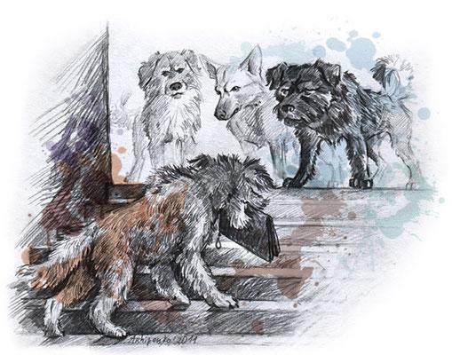 """Иллюстрация к рассказу """"Метро-собака"""". Журнал """"Друг. Для любителей собак"""". №2, 2011."""