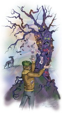 """Иллюстрация к рассказу """"Дуб"""" для журнала """"В мире животных"""" № 5."""