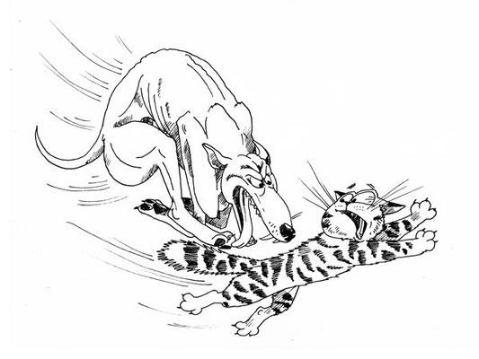"""Иллюстрация к статьям по дрессировке Брайана О'Ши. Для журнала """"Друг""""."""