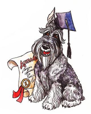 """Иллюстрация у стихотворению """"Собачья школа"""". Журнал """"Друг для любителей собак"""". Кажется, это был 6 номер."""