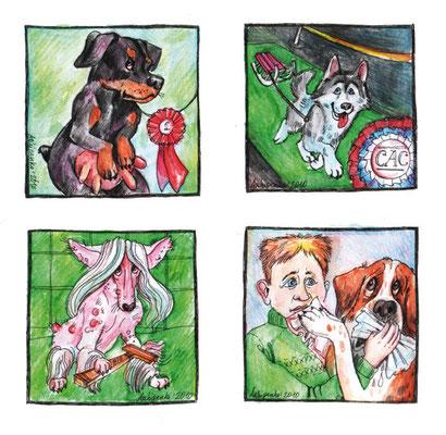 """Шаржи к рубрике """"Перлы экспертов"""". Журнал """"Друг. Для любителей собак"""". №3, 2011."""