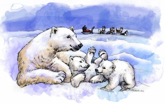 """Иллюстрации к рассказу """"Медвежья охота или забытый каюр"""". Для журнала """"Друг для любителей собак""""."""