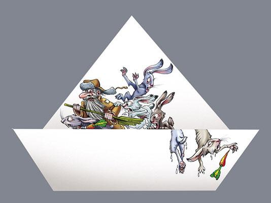 """Иллюстрация для ежегодного календаря рекламной студии """"Пингвин""""."""