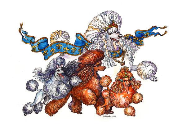 """Иллюстрация к стихотворению """"Королевская свита"""". Журнал """"Друг для любителей собак""""."""