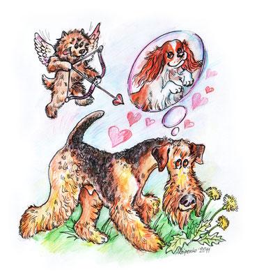 """Иллюстрация для журнала """"Друг"""" к стихотворению """"Влюблённый пёс"""". № 6"""