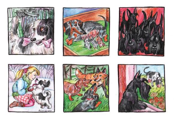 """Иллюстрации к коротким рассказам о собаках. Журнал """"Друг. Для любителей собак"""". №3, 2011."""