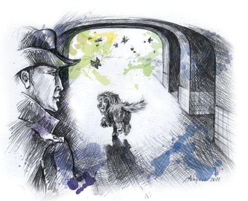 """Иллюстрация к рассказу """"Метро-собака"""". Журнал """"Друг. Для любителей собак"""". №3, 2011."""