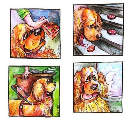 """Рисунки к рассказу """"Малевич"""" для журнала """"Друг для любителей собак""""."""