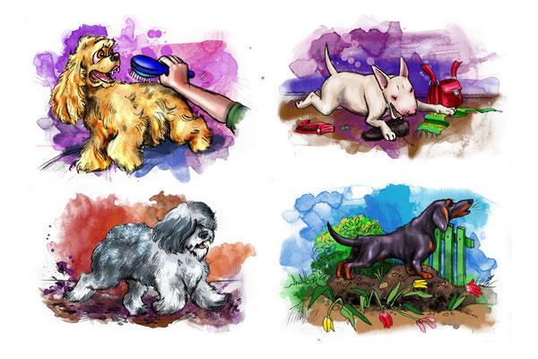 """Иллюстрация в журнал """"Друг для любителей собак""""."""