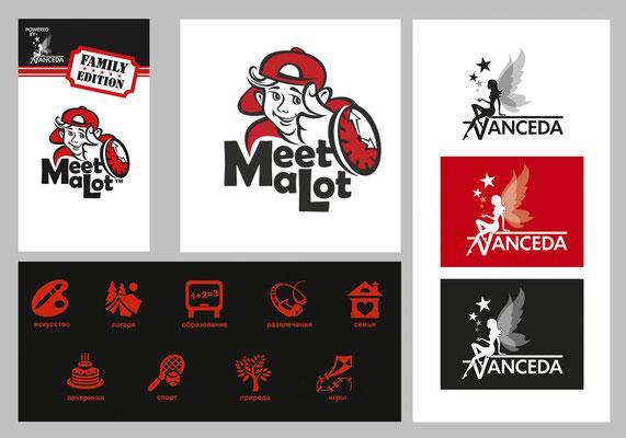Фирменный стиль, интерфейс, логотипы, набор иконок для производителя мобильных приложений Vanceda, LLC (США) и мобильного приложения Meetalot.