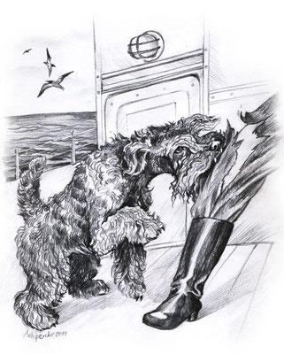 """Иллюстрация к рассказу """"Корвет"""" для публикации в журнале НКП Керри-блю-терьер."""