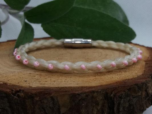 4fach rundgeflochtenes Pferdehaararmband mit rosa Rocaille perlen