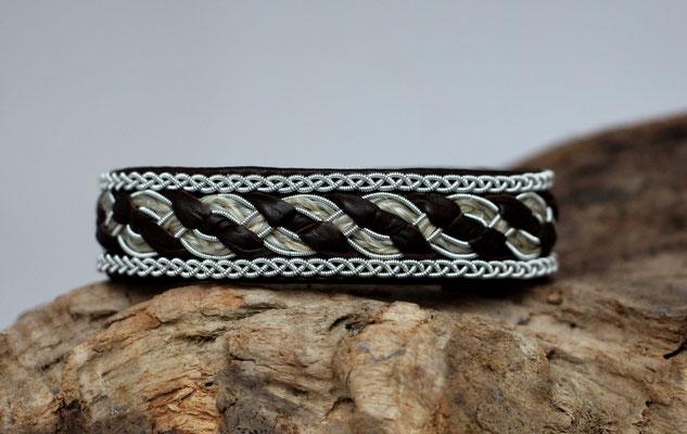 Pferdehaararmband aus Rentierleder, Zinndraht, Schweifhaar, 014-B40-H-L-DB, €75,-