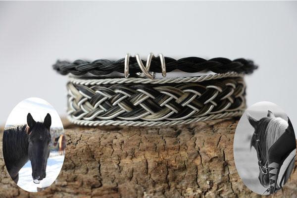 Rentierlederarmband mit Zinndraht und Schweifhaar bestickt, 4fach rund geflochtenes Pferdehaararmband mit Silberspirale