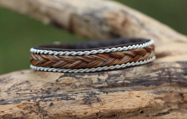 Pferdehaararmband aus Rentierleder, Zinndraht, Schweifhaar, 003-B20-Sp-H-X,  €63,-