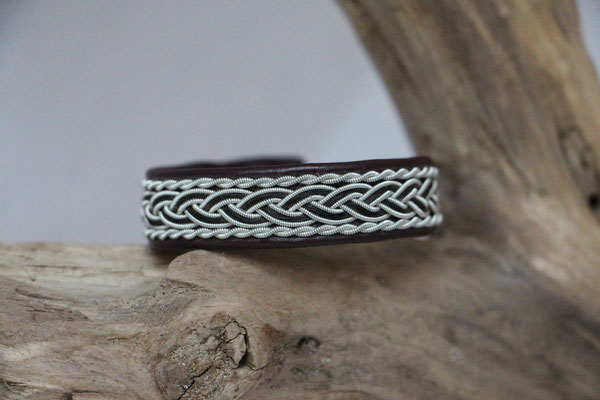 Pferdehaararmband aus Rentierleder, Zinndraht, Schweifhaar,  016-B30-H-WR,  €86,-