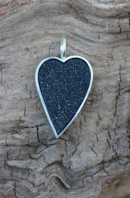 Anhänger Achatkristall Herz, doppelseitig- Seite 1, 925/er Silber, €245,-