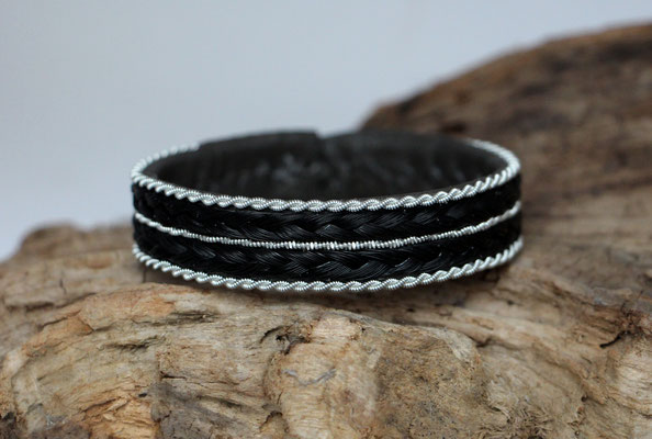 Pferdehaararmband aus Rentierleder, Zinndraht, Schweifhaar, 024-B30-H-S, €63,-