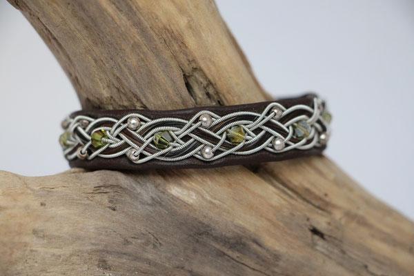 Pferdehaararmband aus Rentierleder, Zinndraht, Schweifhaar, 008-B25-H-PSW-X, €80,-
