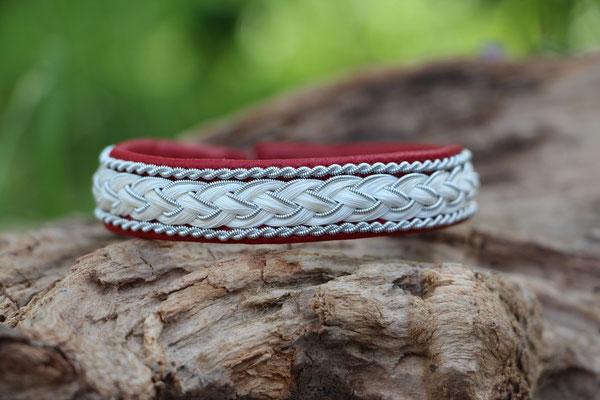 Pferdehaararmband aus Rentierleder, Zinndraht, Schweifhaar, 001d-B30-H-X, €68,-