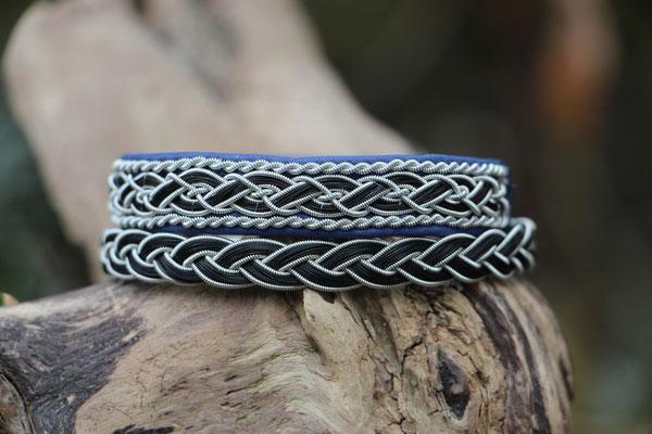 Rentierlederarmband mit Zinndraht und Schweifhaar bestickt und 3fach flachgeflochtenes Pferdehaararmband mit Zinndraht mit 4% Silberanteil und Edelstahl-Klickverschluss