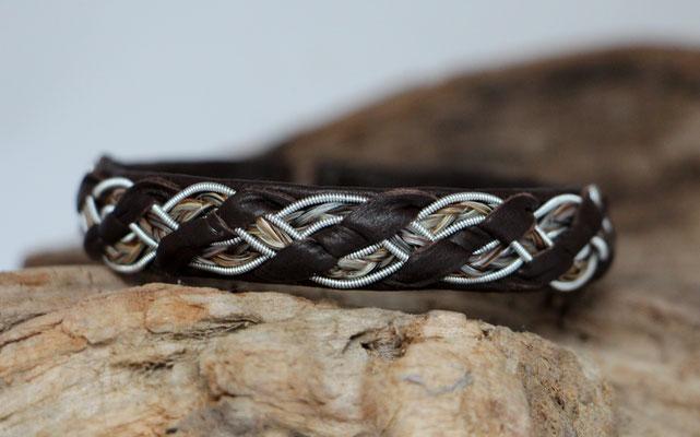 Pferdehaararmband aus Rentierleder, Zinndraht, Schweifhaar, 014-B20-H-L-X, €63,-