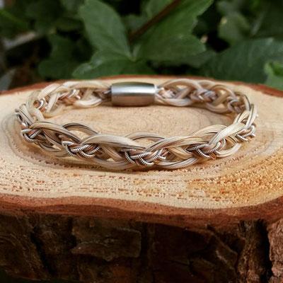 russisch flachgeflochtenes Pferdehaararmband mit Zinndraht mit 4% Silberanteil