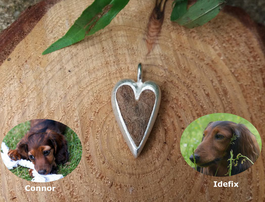 großes Herz, 925/er Silber, Haare eingelegt, mit Gießharz verschlossen, € 115,-