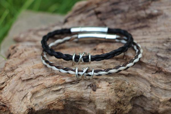 4fach rund geflochtene Pferdehaararmbänder mit Silberspirale