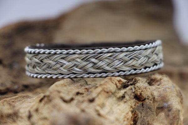Pferdehaararmband aus Rentierleder, Zinndraht, Schweifhaar,  018-B30-H-DG, €63,-
