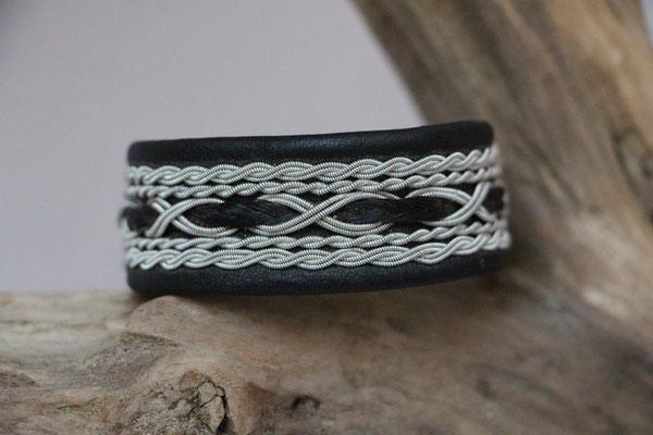 Pferdehaararmband aus Rentierleder, Zinndraht, Schweifhaar, 013-B50-H-S, €120,-