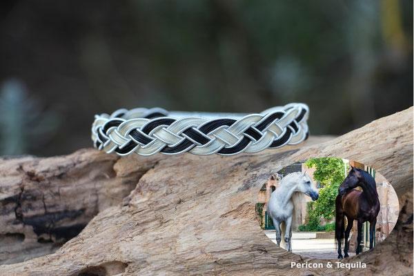 4fach flach geflochtenes Pferdehaararmband mit Zinndraht mit 4% Silberanteil und Edelstahl-Klickverschluss