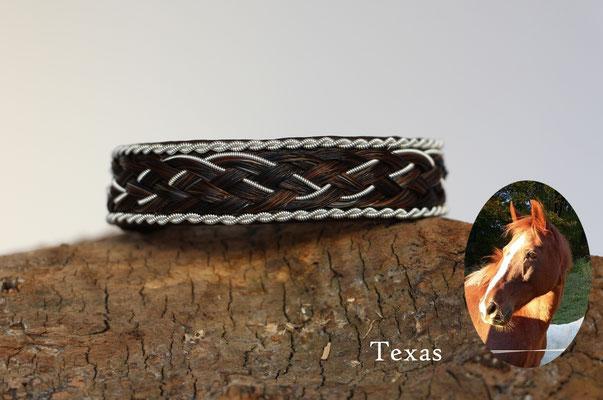 Rentierlederarmband mit Zinndraht und Schweifhaar bestickt