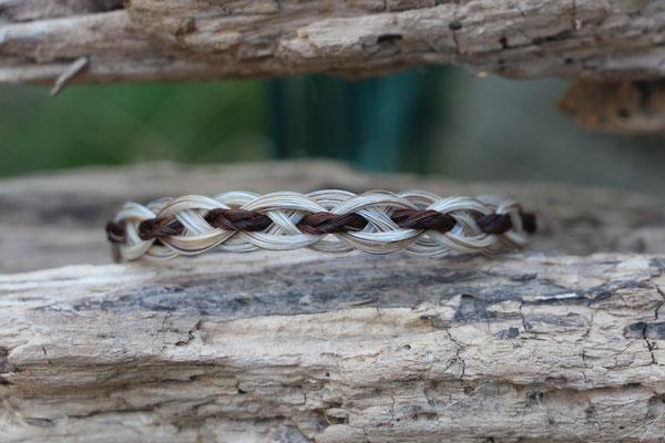 Pferdehaararmband aus Schweifhaar, russisch geflochten mit Haarzopf, Edelstahlverschluss, €´55,-